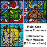 Colouring by Multistep Equations, Grinch, Max & Cindy Lou (25-Sheet Mosaics)