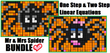 Colouring by One Step & Two Step Linear Equations - Mr & Mrs Spider BUNDLE