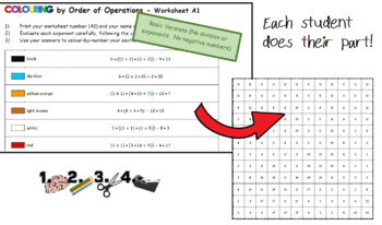 Colouring by Order of Operations, Collaborative Math Mosaic (4 Versions!)
