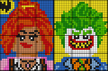 Colouring by Percent Problems, Lego Barbara & Joker (Two 12-Sheet Mosaics)