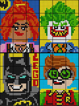 Colouring by Percent Problems, Lego Batman Bundle (Four 12-Sheet Mosaics)