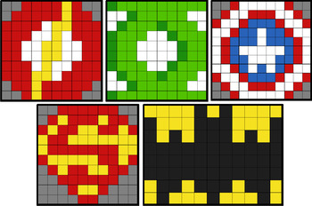 colouring by place value super hero logos 5 solo mosaics 2 versions each