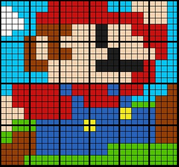 Colouring by Polynomial Functions, Mario (6, 12, and 24 Sh