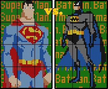 Colouring by Pythagorean Theorem, Batman vs Superman (Two 12 Sheet Mosaics)