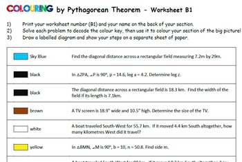 Colouring by Pythagorean Theorem - Applications (16 and 25 worksheet versions)