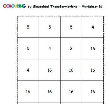 Colouring by Sinusoidal Function Transformations - 36 worksheet version
