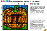 Colouring by Equation - Pumpkin Pi  (16 worksheet version)