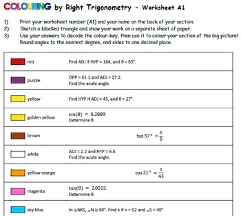 Colouring by Trig- Easter! Right, Acute, Pythagorean Versions (24 sheet mosaics)