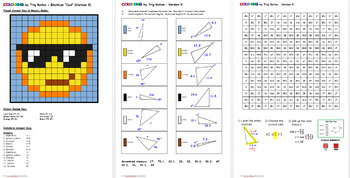 Colouring by Trig Ratios, Cool Emoji (Solo Math Mosaic)