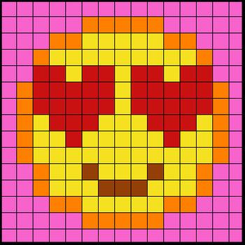 Colouring by Trig Ratios, In Love Emoji (Solo Math Mosaic)