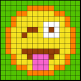 Colouring by Trig Ratios, Tongue Out Emoji (Solo Math Mosaic)
