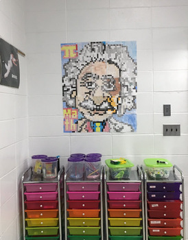 Colouring by Quadratics - Einstein (25 Worksheet Collaborative Math Mosaic)