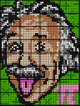 Colouring by Trigonometry - Einstein (32 Worksheet Collaborative Math Mosaic)