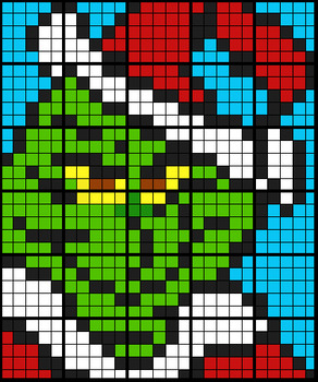 Colouring by Volume and Surface Area, The Grinch (30 Worksheet Mosaic)