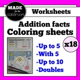 Colouring worksheets (x18) for addition facts up to 10