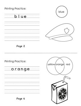 Colours Workbook - Word Association / Mixing / Primary / Mini book / Printing