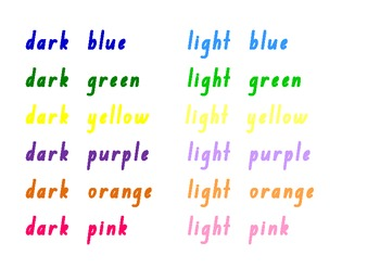 Colours and shapes for the Word Wall