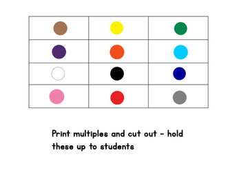 Colours - bingo/memory/go fish