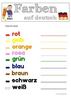 Colours in German / Farben auf deutsch