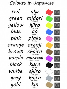 Colours in Japanese