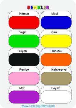 Colours in Turkish (Renkler)