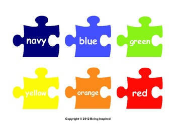 Colours on Jigsaw Pieces - includes worksheets (UK version)