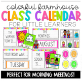 Colorful Farmhouse Morning Meeting Calendar