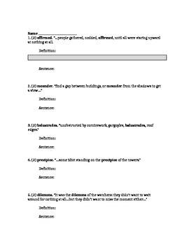 Colum McCann: Questions to read pp. 3-7, vocab, lit term chart