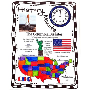 Columbia Disaster History Minute Cross Curricular History and Close Reading Pack