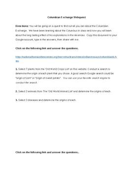 Columbia Exchange Webquest