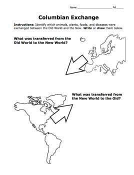 Columbian Exchange Activity / Draw & Identify Old World ...