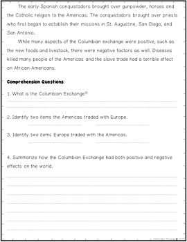 Columbian Exchange Old World, New World Nonfiction Article Activity