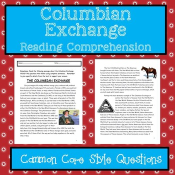 columbian exchange reading comprehension by lisa battista 39 s classroom. Black Bedroom Furniture Sets. Home Design Ideas