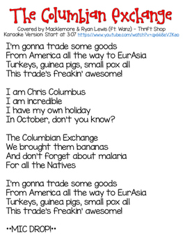 Columbian Exchange Song - (Christopher Columbus and The Ag