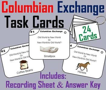 Columbian Exchange Task Cards  (Age of Exploration Unit)