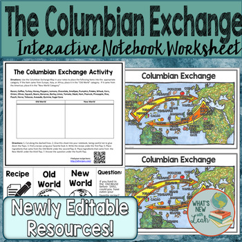 Columbian Exchange Worksheet by Leah Cleary   Teachers Pay ...