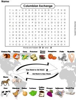 Columbian Exchange Worksheet/ Word Search