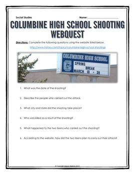 Columbine High School Shooting - Webquest with Key