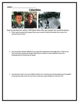 Columbine: Reading, Video and Writing Prompt
