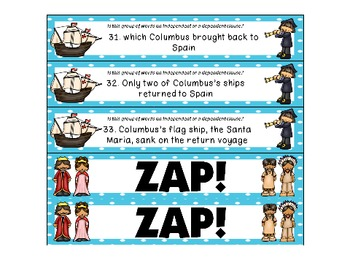 Columbus Day Clauses ZAP! Independent and Dependent Clauses