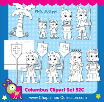 Columbus Clipart Black and white, The Discovery of America, Line art Set 052C