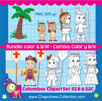 Columbus Clipart Bundle, Color, and Black and white, Set 052B and 052C