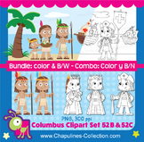 Columbus Clipart Bundle, Color, and Black and white, Set 0