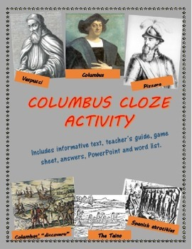 Columbus Cloze game/activity including text