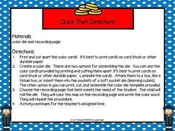 Columbus' Colors:  LOW PREP Columbus Day Themed Roll and Write Activity
