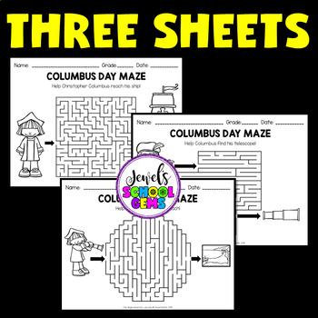Christopher Columbus Day Activities (Maze Worksheet)