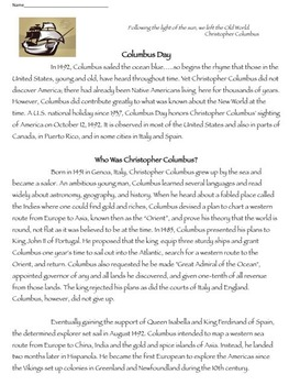 Columbus Day Informational Text