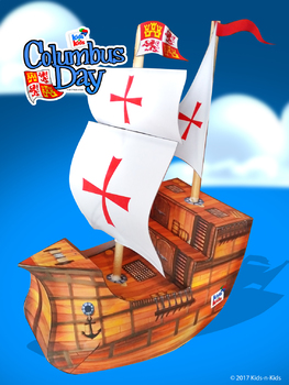 Columbus Day, 3D Sailing Ship