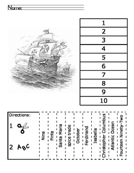 Columbus Day ABC Order Cut and Paste