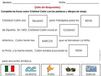 Columbus Day Activities Spanish and English versions bundle